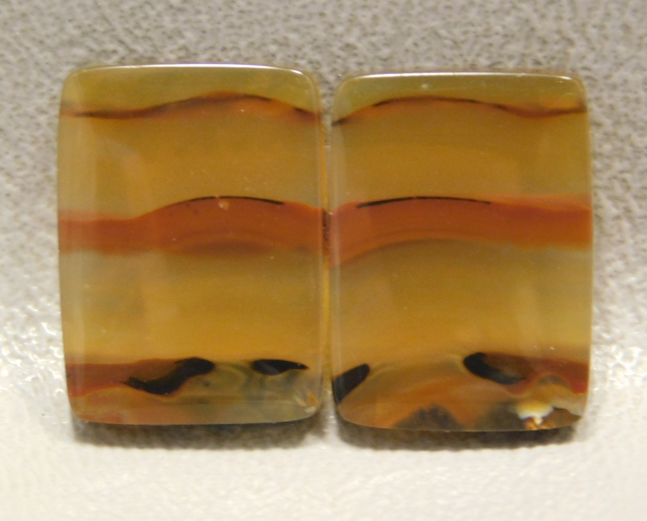 Brazilian Agate Matched Pair Cabochons 18 mm 13 mm Rectangle #21