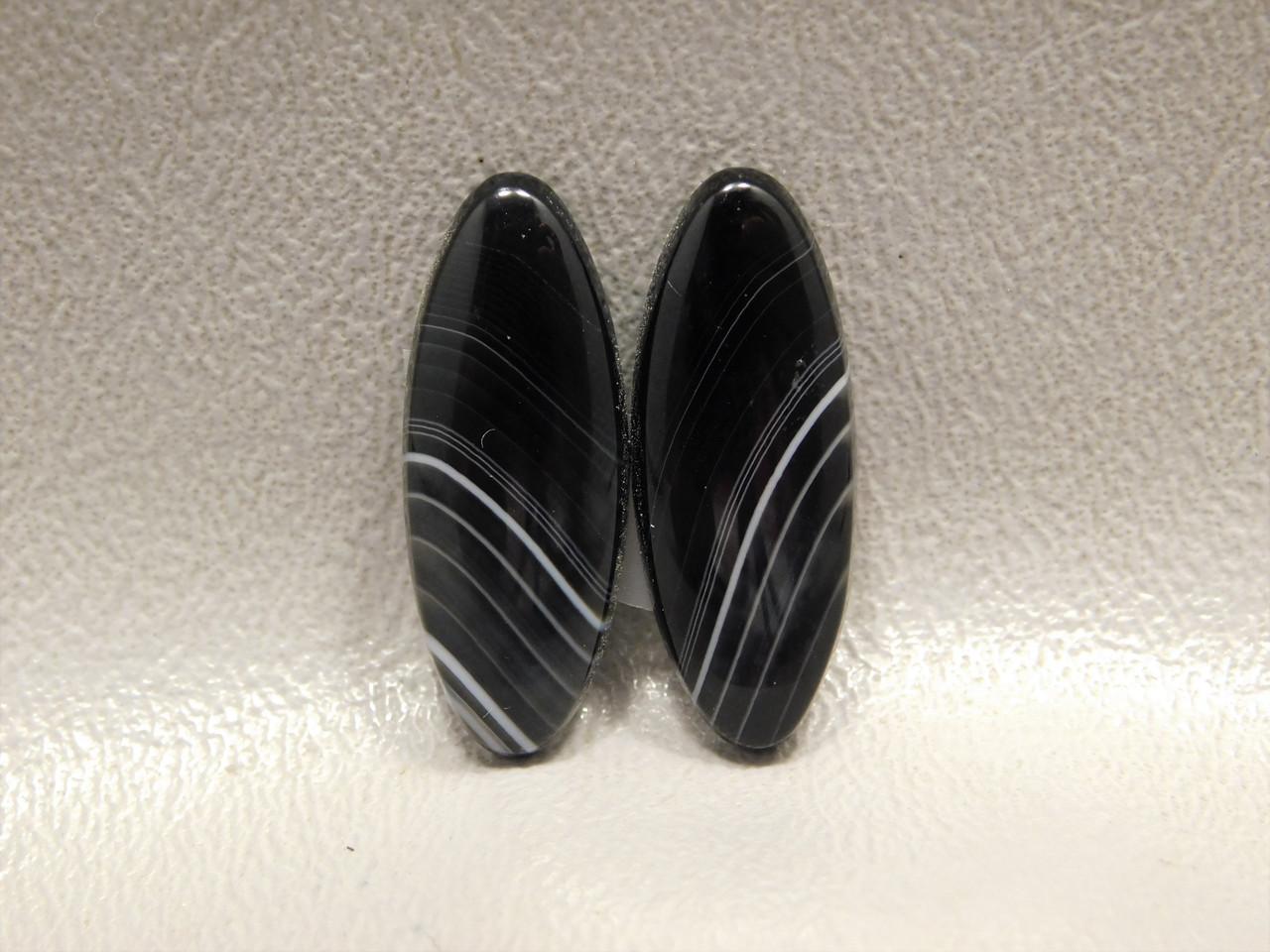 Cabochons Tuxedo Agate Semi Precious Matched Pair Stones #22