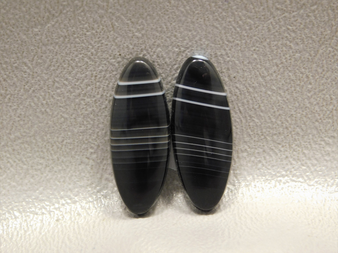 Cabochons Black and White Tuxedo Agate Matched Pair Stones #23