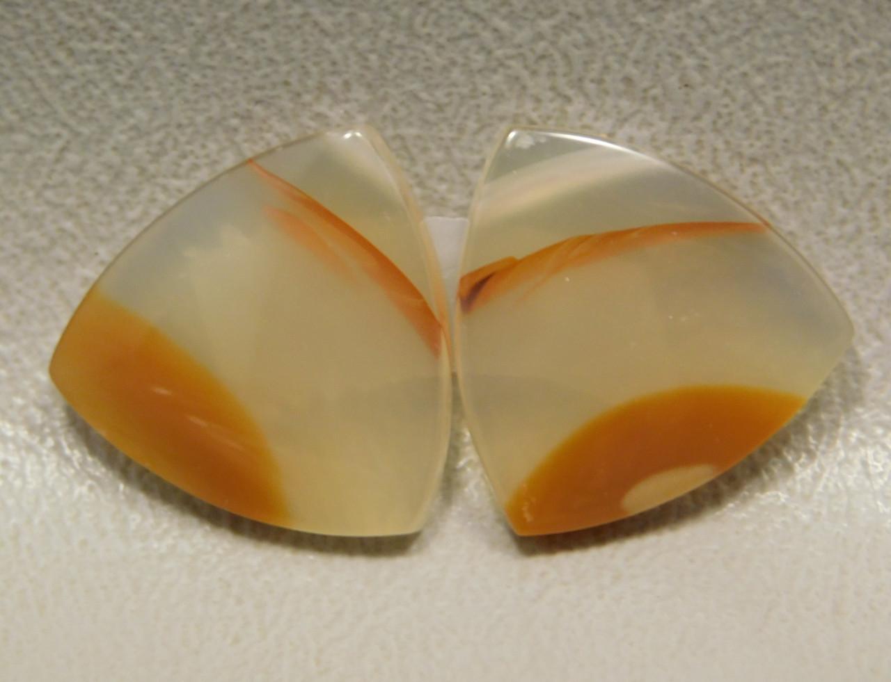 Brazilian Translucent Orange Banded Agate Cabochons Pairs #14