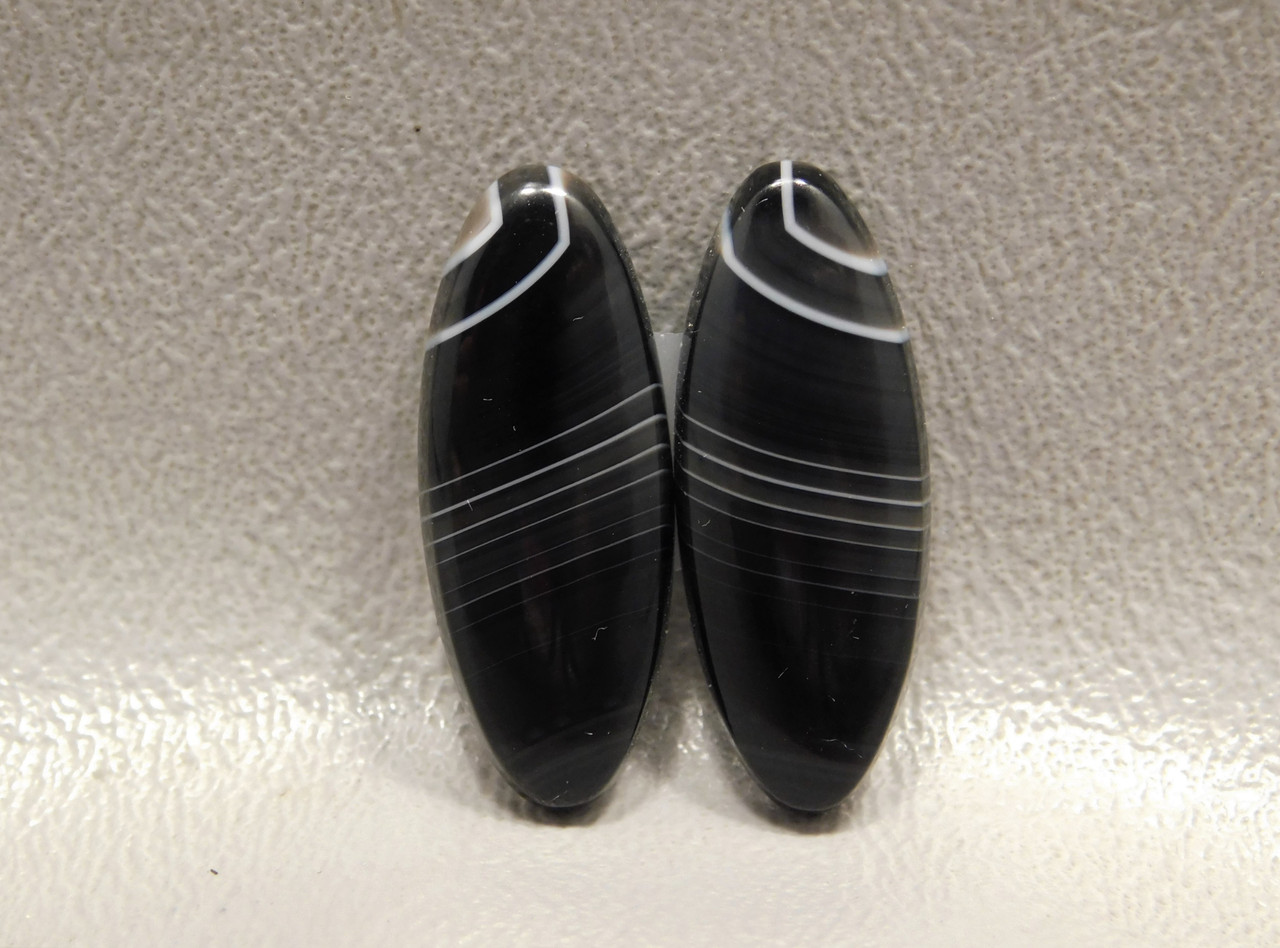 Matched Pair Black Stone Cabochons For Earrings Tuxedo Agate #12