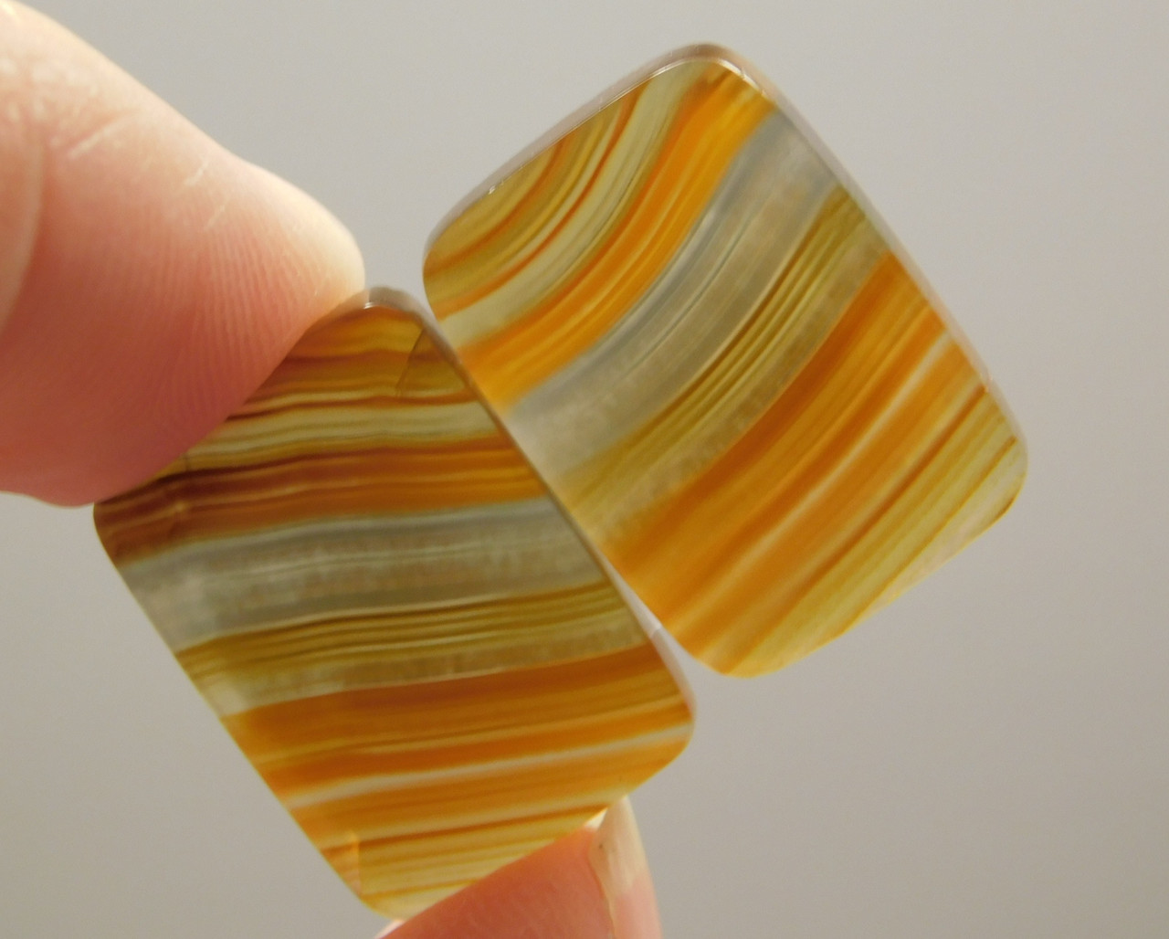 Translucent Banded Agate Matched Pair Cabochons Gemstone #23