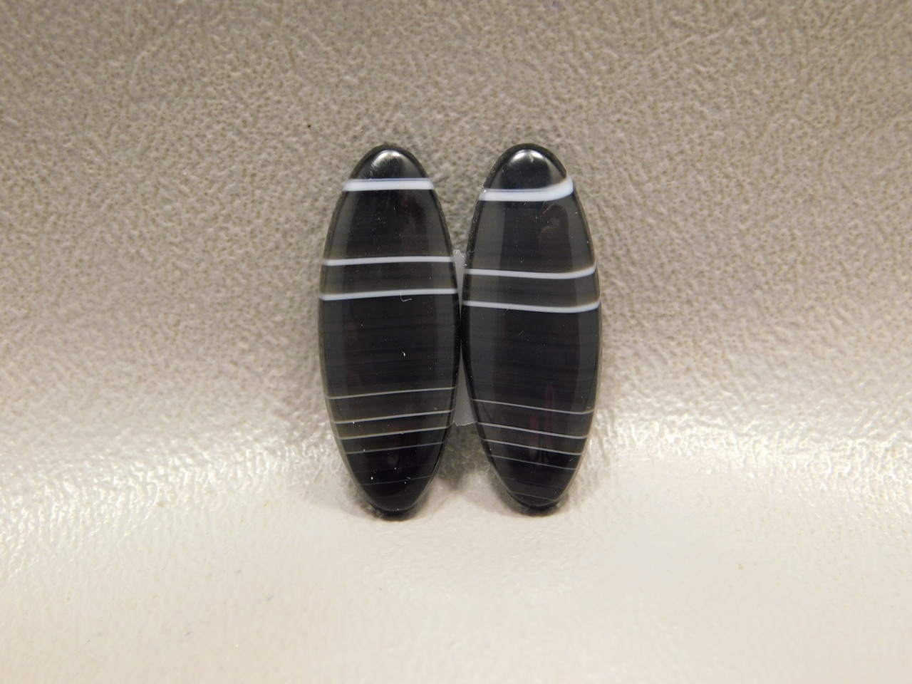 Matched Pair Black Stone Cabochons For Earrings Tuxedo Agate #16