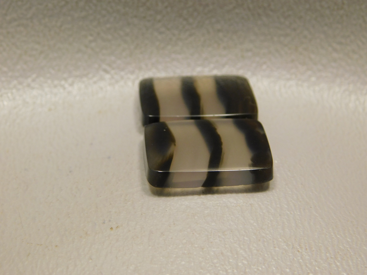 Translucent Black and Clear Banded Agate Matched Pair Cabochons #20