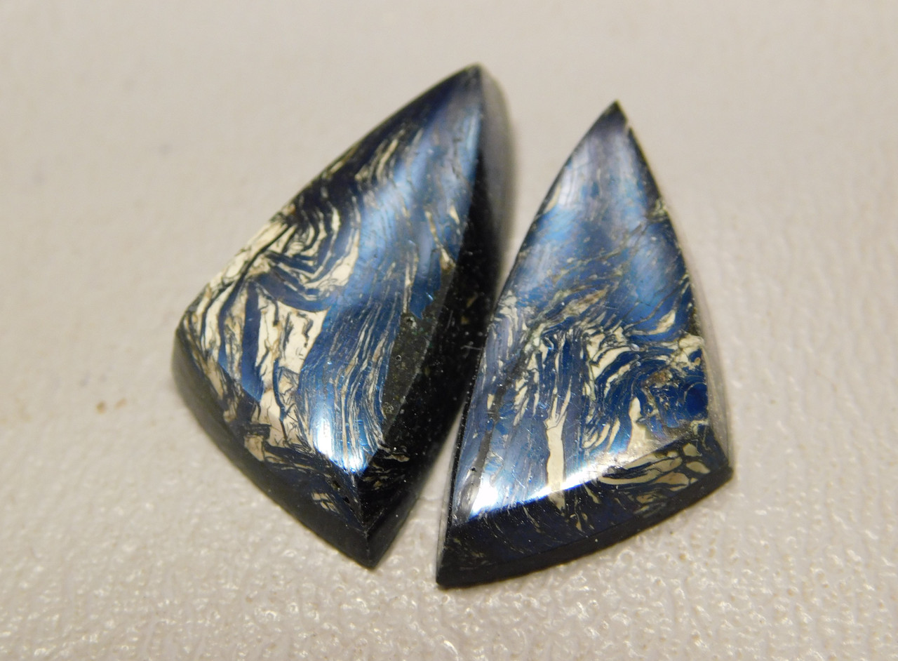 Covellite Matched Pair Cabochons Iridescent Triangle Shaped #18