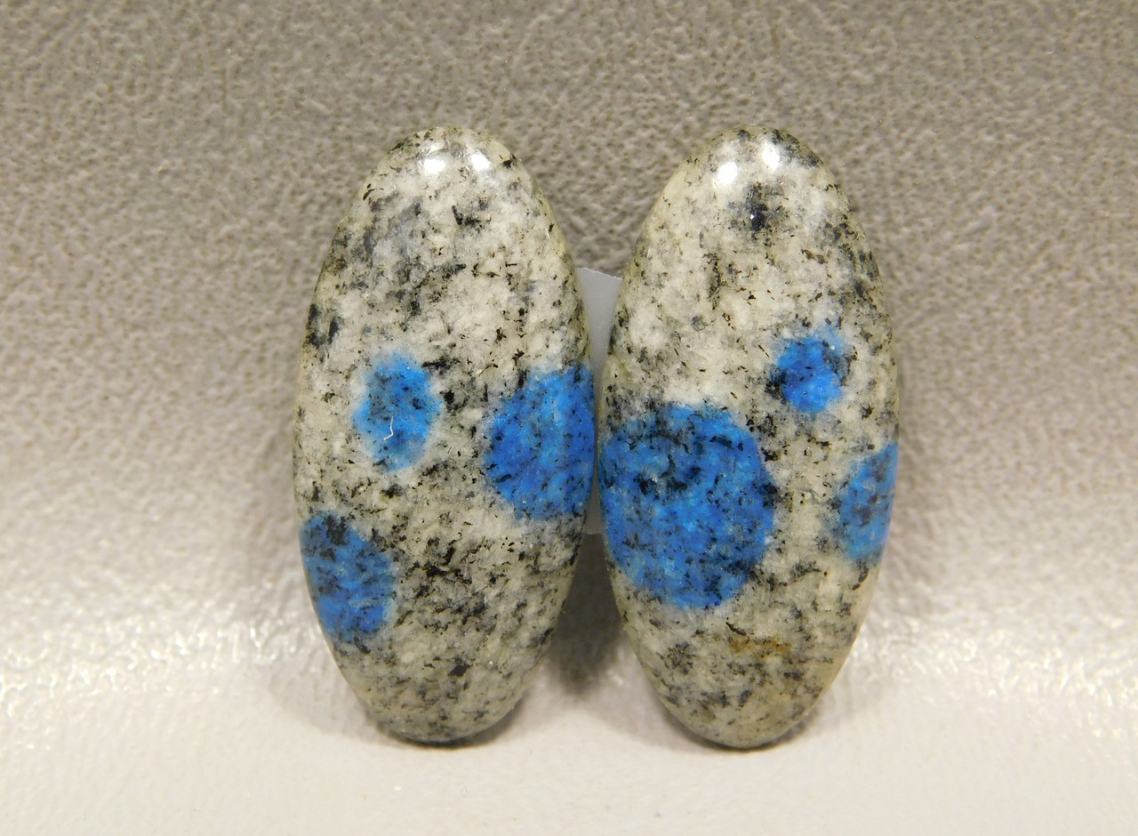 Cabochons K2 Azurite Earring Stones Matched Pair Gemstone #16