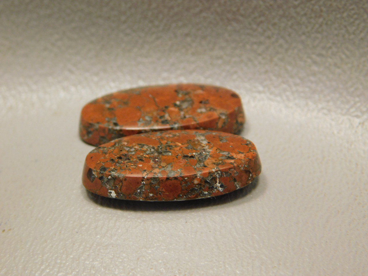 Kingston Conglomerate Stone Copper Rose Matched Pair Red Cabochons #21