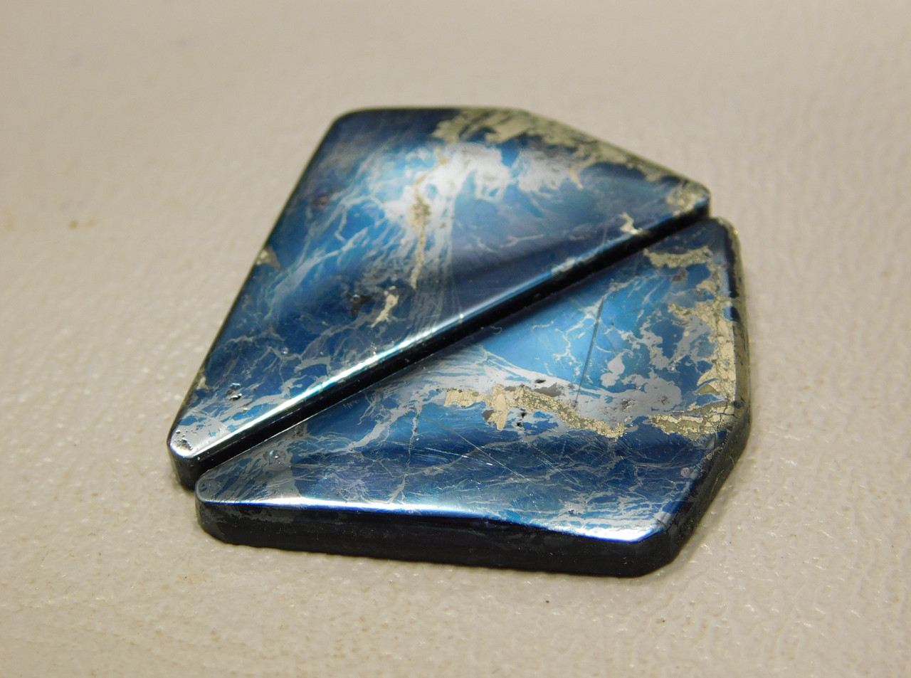 Covellite Jewelry Stone Cabochons Matched Pair for Earrings #3