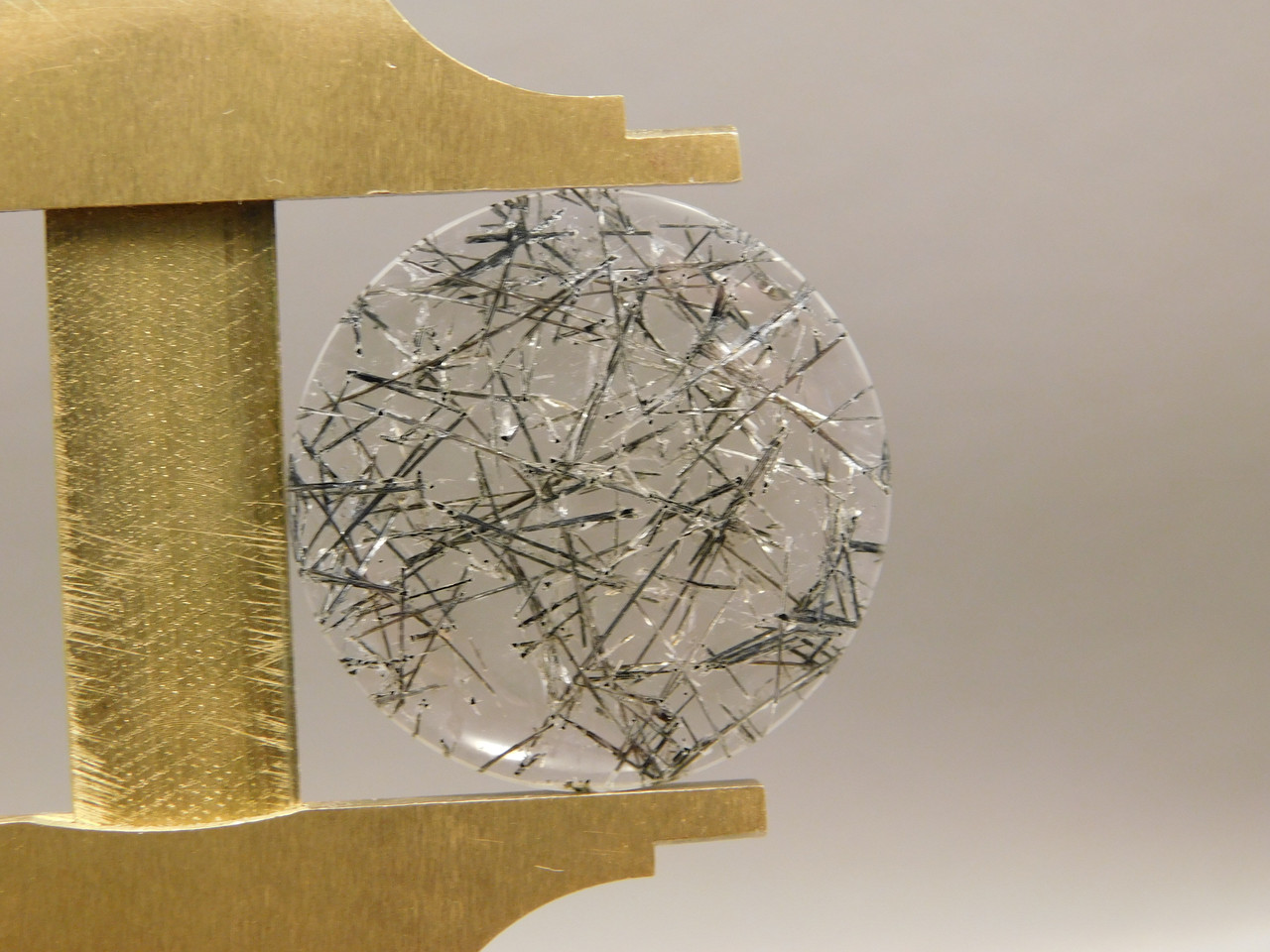 26 mm Round Tourmaline Clear Quartz Stone Cabochon #6