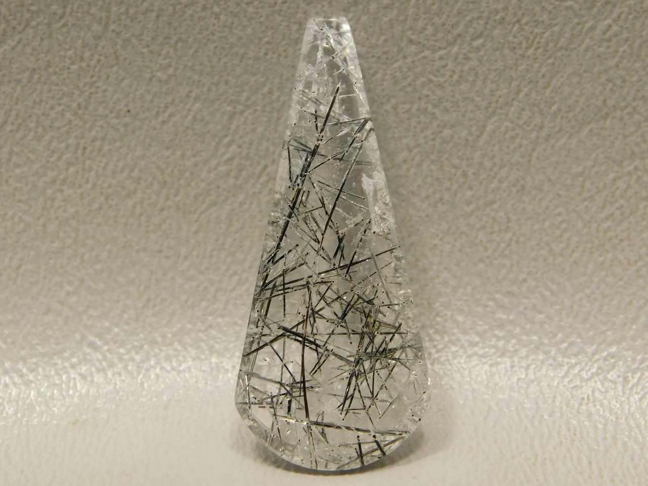 Tourmalinated Quartz Stone Drop Cabochon #8