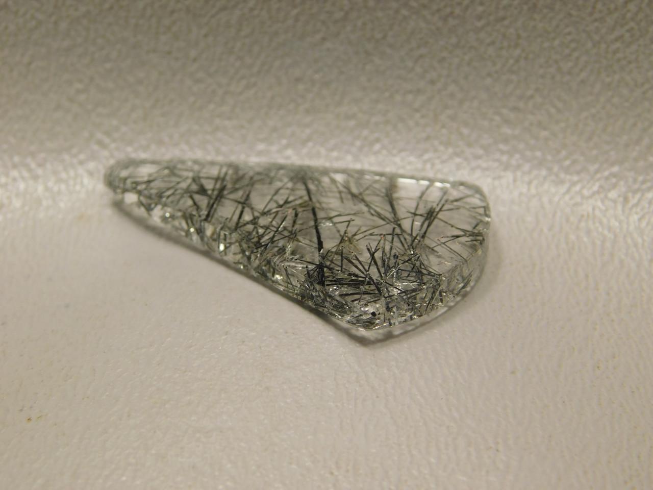 Tourmalined Clear Quartz Teardrop Shaped Cabochon #12