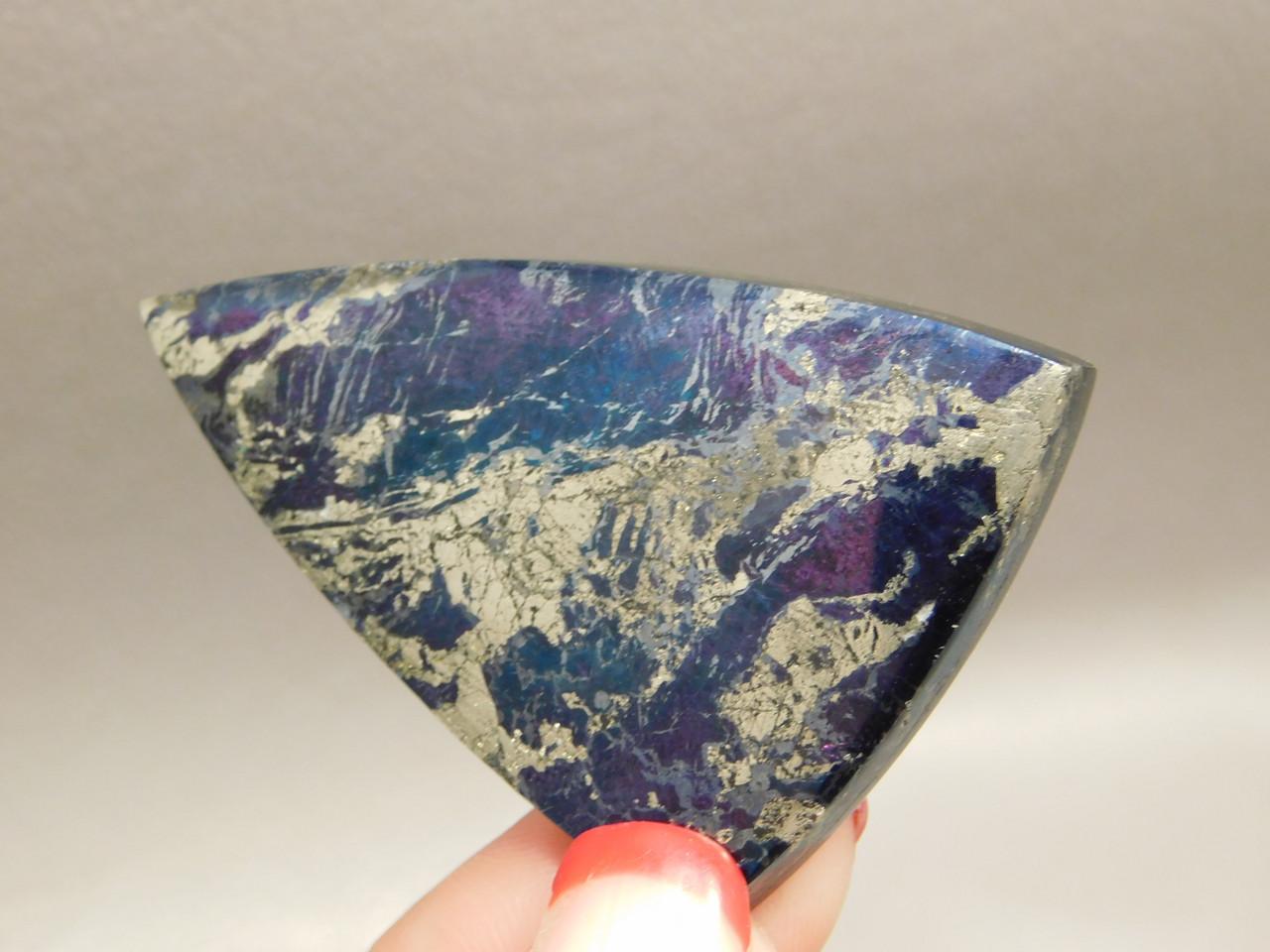 Covellite Cabochon Metallic Blue Large Triangle Semi Precious Stone #8