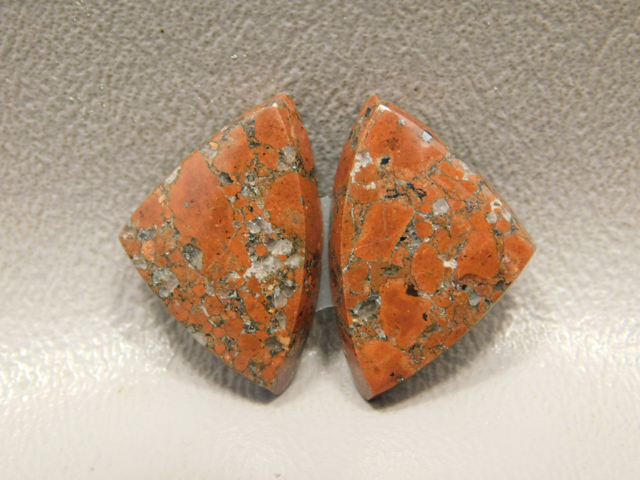Natural Red Stone Copper Rose Matched Pairs Triangle Cabochons #9