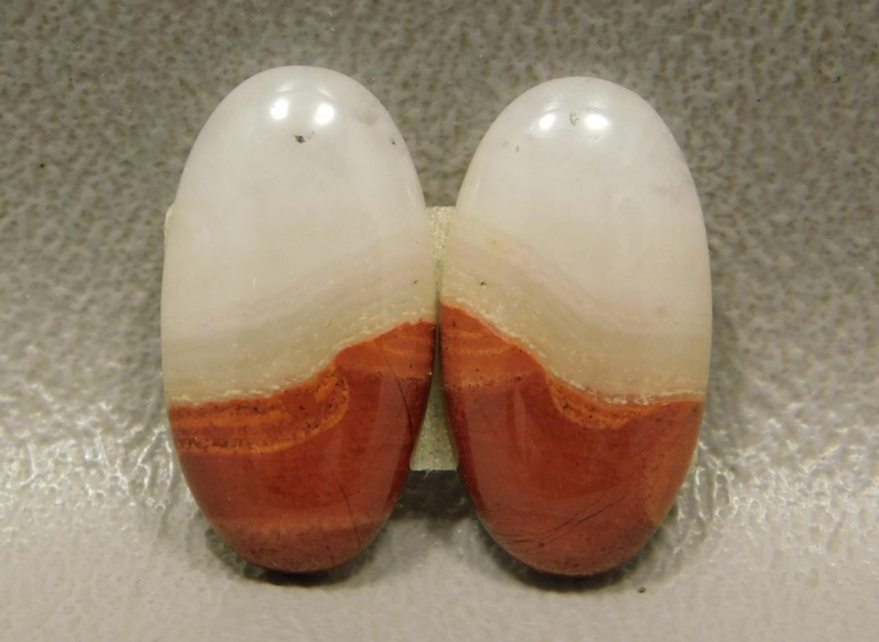 Red Jasper Matched Pairs Semiprecious Gemstone Cabochons #9