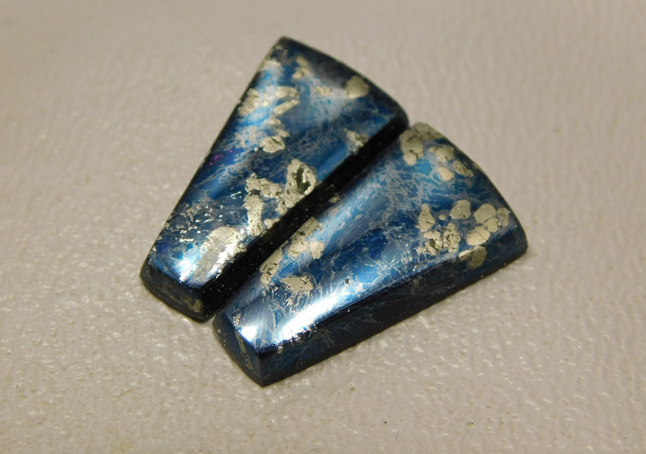 Covellite Metallic Blue Stone Cabochons Matched Pair for Earrings #2