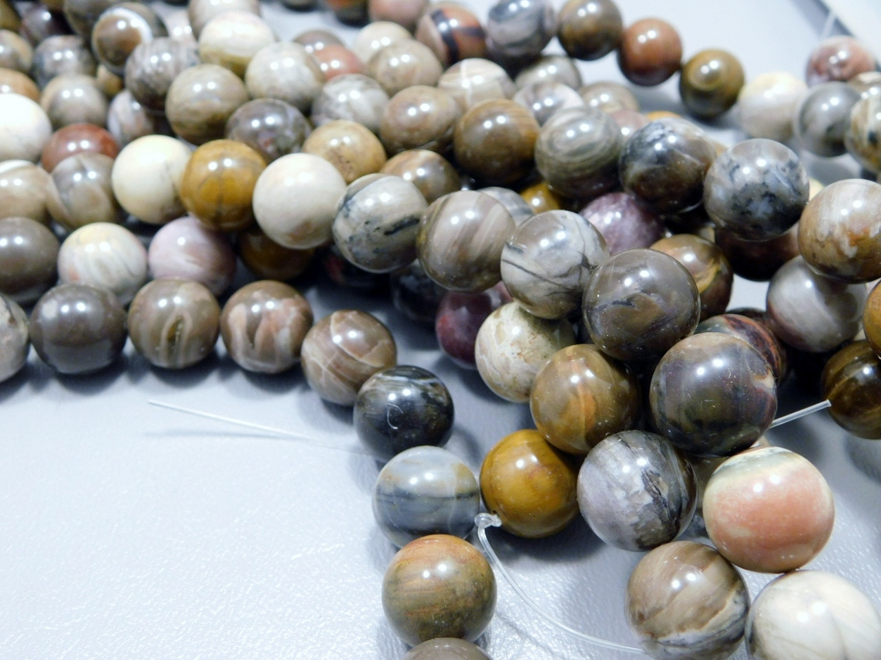 ONE Petrified Wood Beads Unstrung 14.5 mm Sphere Ball Strand #3