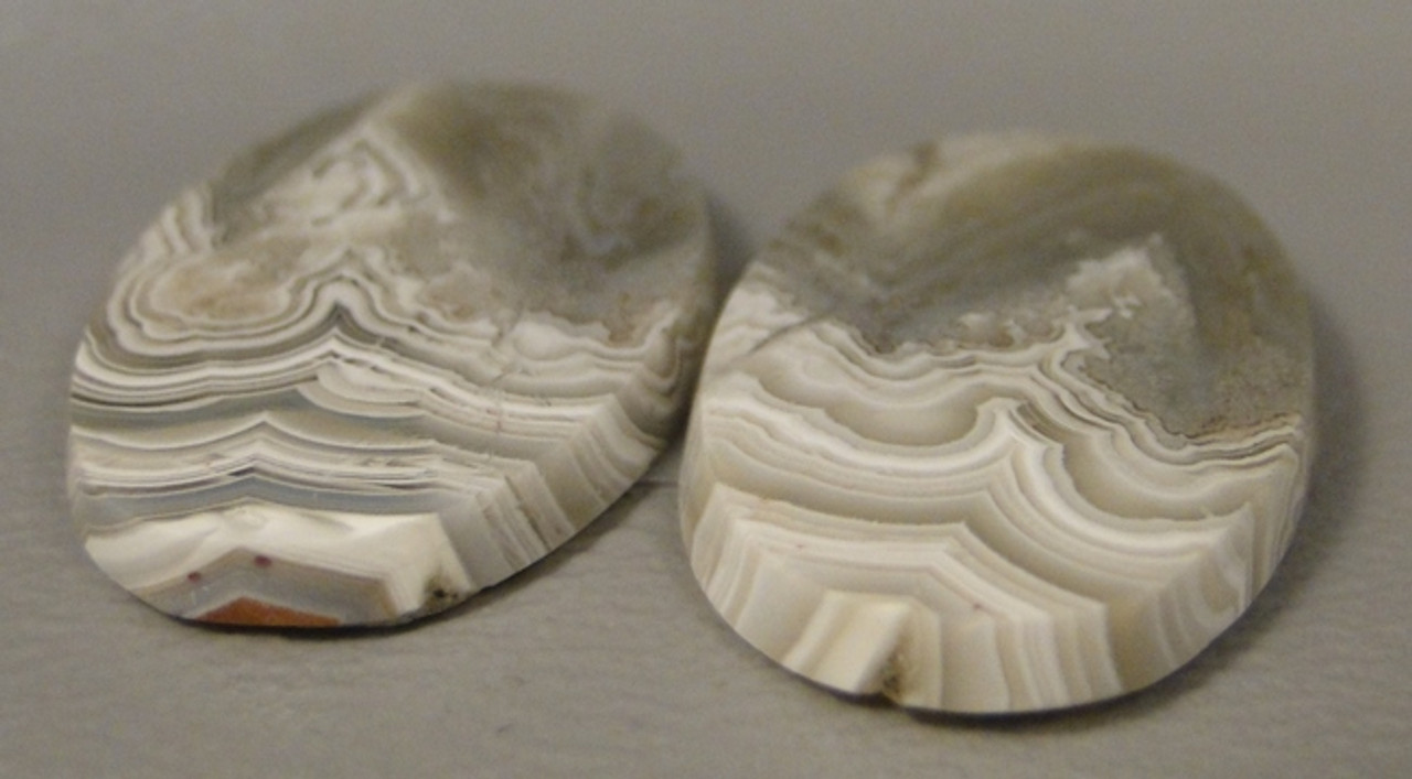 matched pair white semi precious gemstone Crazy Lace Agate designer cabochons