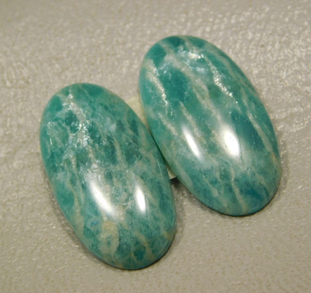 Amazonite Matched Pair Cabochons Stones Green #6
