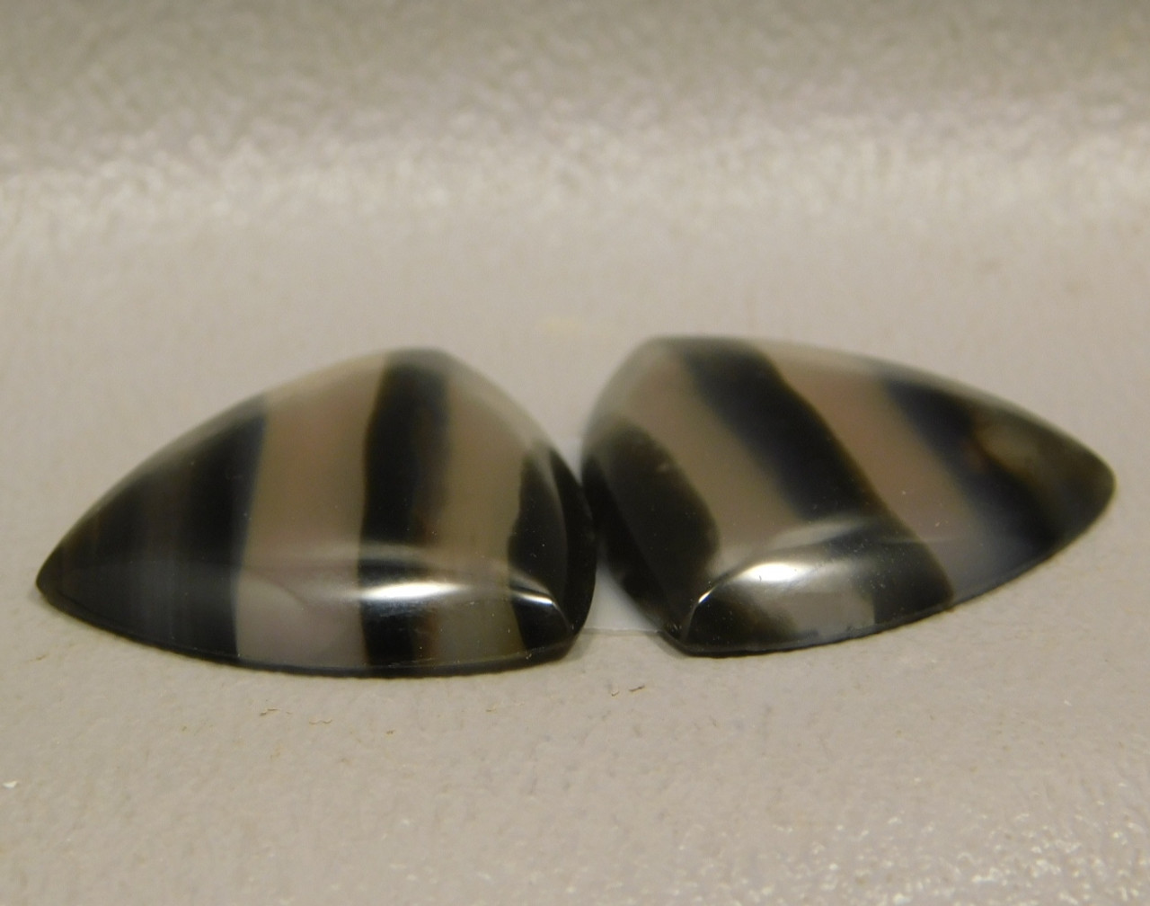 Banded Agate Matched Pair Cabochon Black and Clear #11
