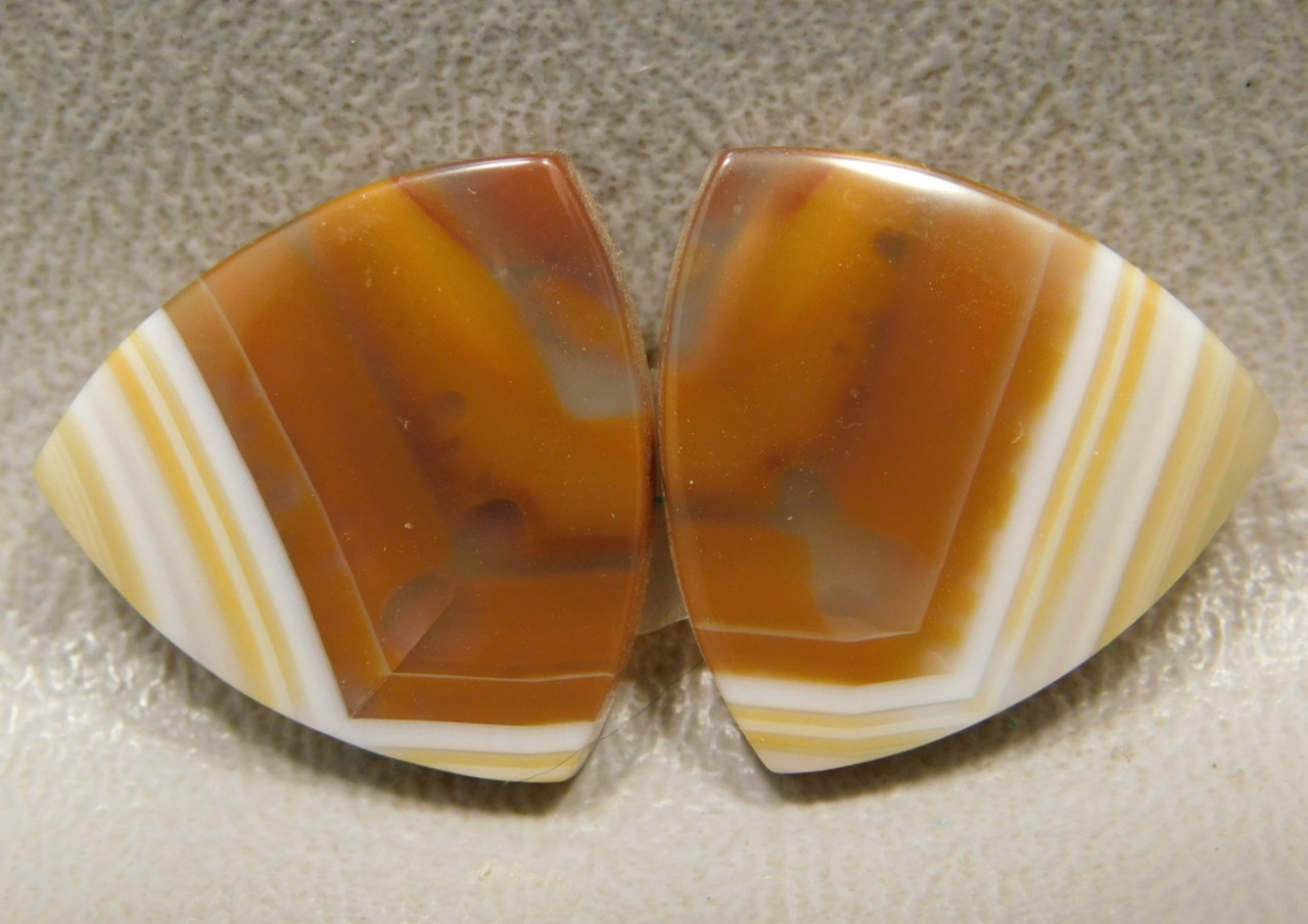 Banded Agate Matched Pair Cabochon Stones Orange #9