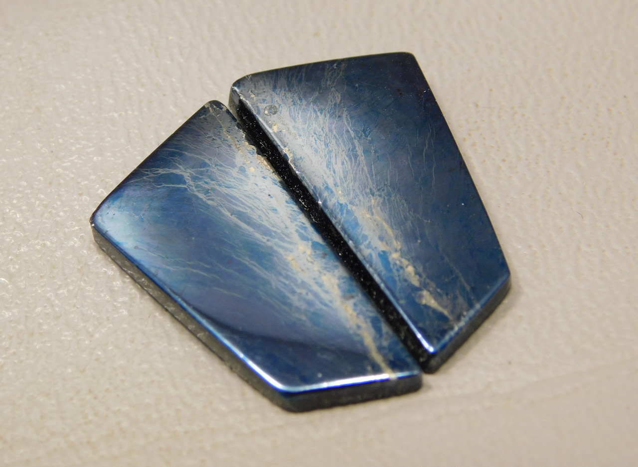 Covellite Matched Pair Cabochons Iridescent Blue Freeform #5