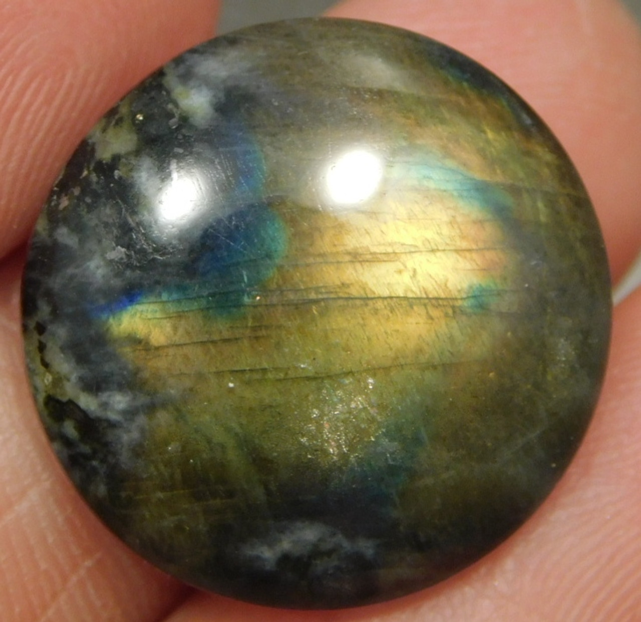 Spectrolite Cabochon Semi Precious 18 mm Round Stone #14
