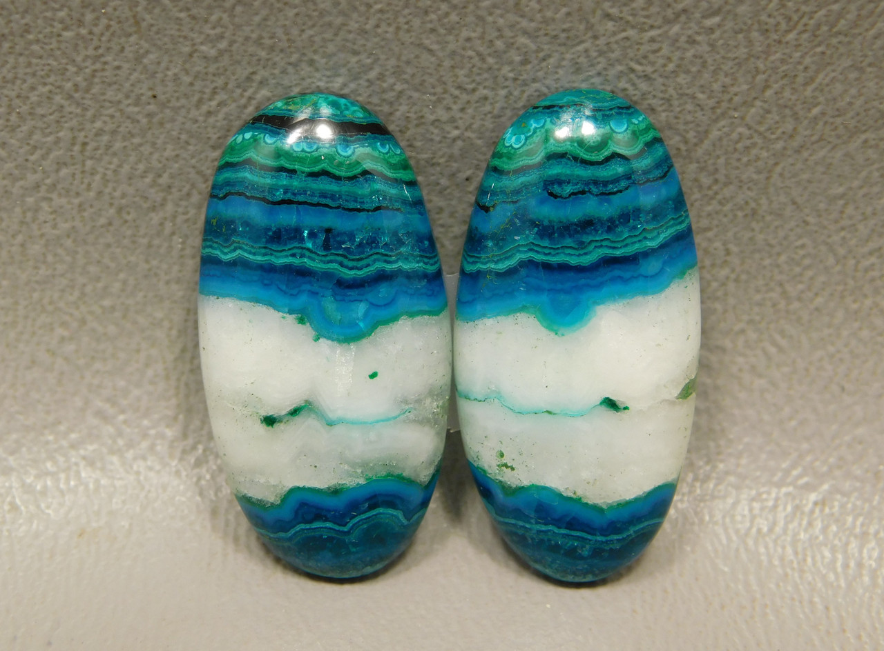 Chrysocolla Malachite Matched Pair Cabochons for Earrings #2