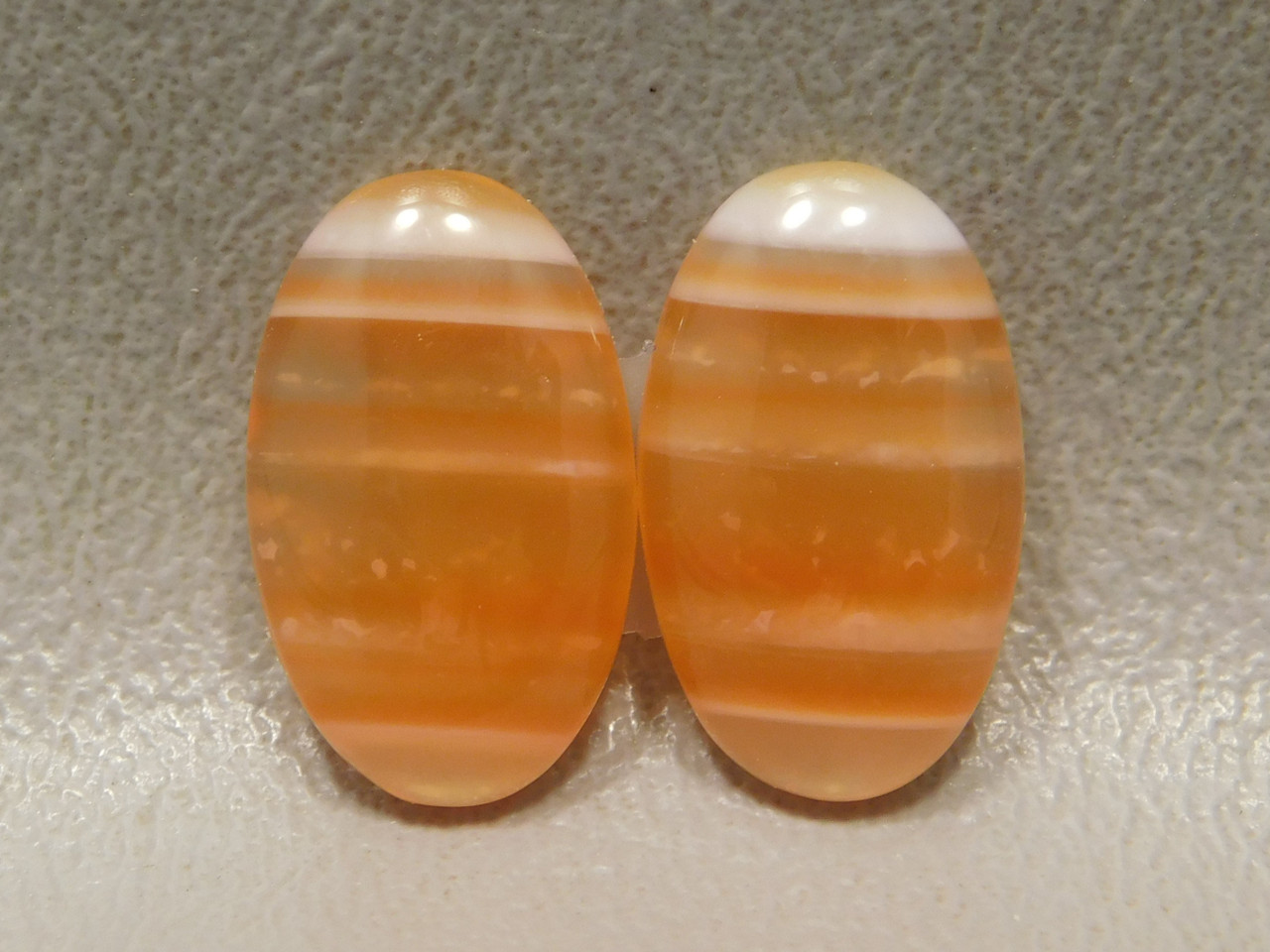 Gemstone Cabochons Orange Banded Carnelian Agate Matched Pair #1