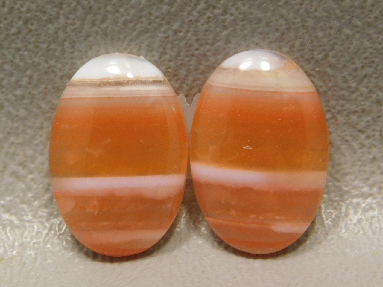 Stone Cabochons Orange White Striped Carnelian Agate Matched Pair #2