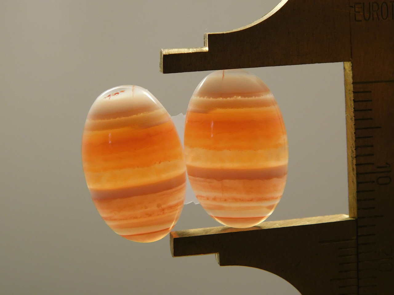Cabochons Oval Banded Orange and White Carnelian Agate Matched Pair #8