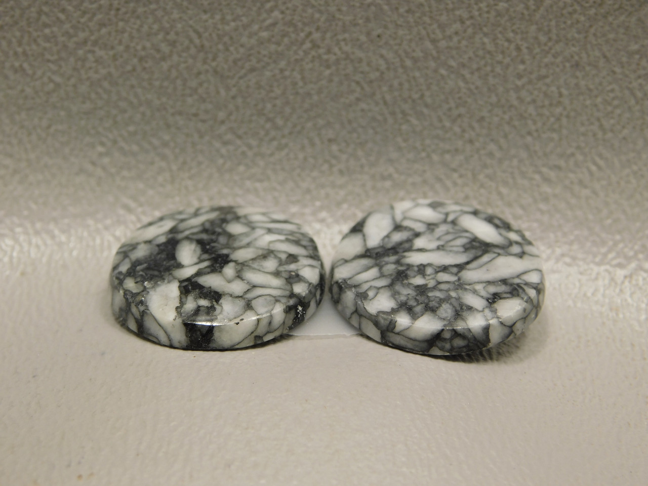 Pinolith or Pinolite Cabochons Matched Pair 18.5 mm Round Stones #21