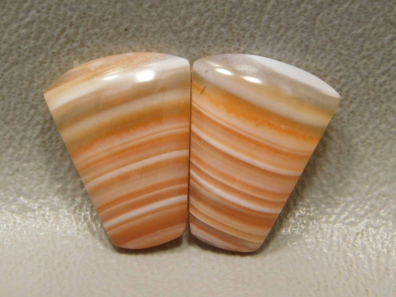 Cabochons Trapezoid Orange Striped Carnelian Agate Matched Pairs #11