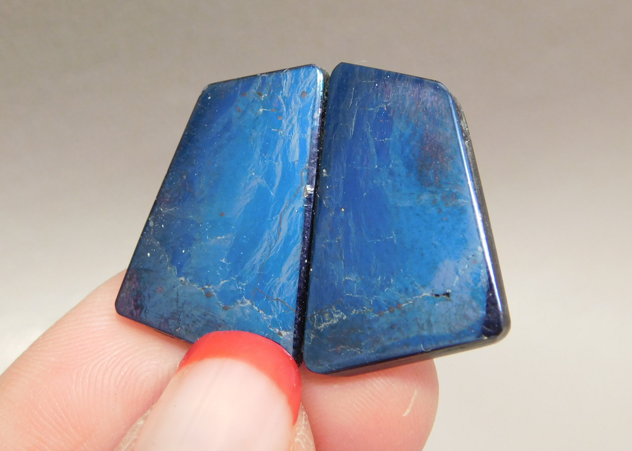 Covellite Cabochon Stones Matched Pairs for Earrings #4