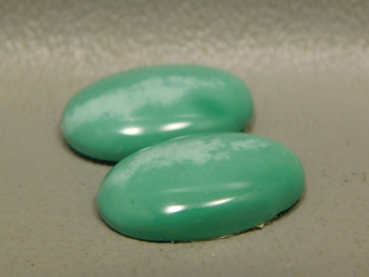 Variscite Matched Pair Utah Green Cabochons for Earrings #7