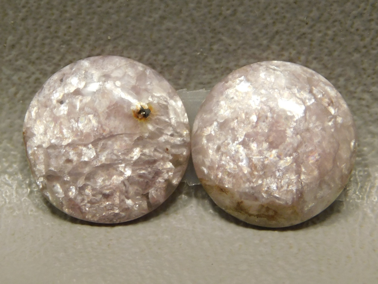 Lepidolite Matched Pair for Earrings Stone Cabochons 13 mm Rounds #22
