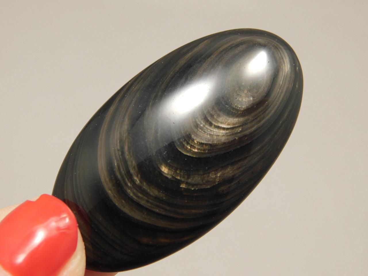 Mahogany Obsidian Oval Cabochon Black Red Gold Sheen Oregon #4