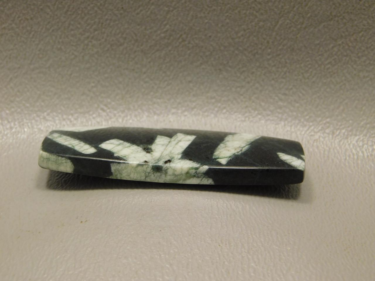 Chinese Writing Rock Cabochon Bowed Rectangle Shape Gemstone #13