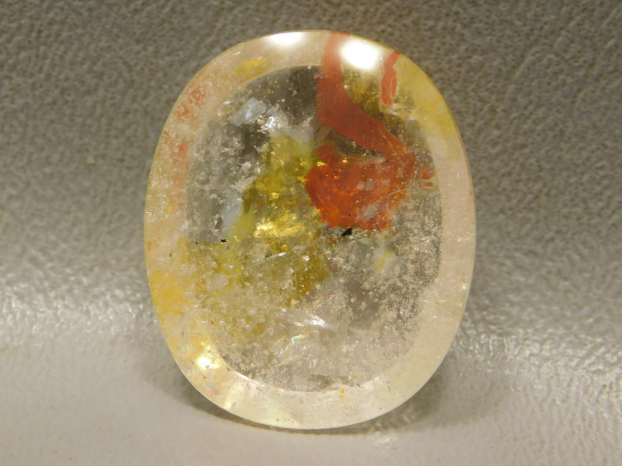 Hematoid Quartz Red Yellow Inclusions Crystal Ferruginous  Cabochon #Q26