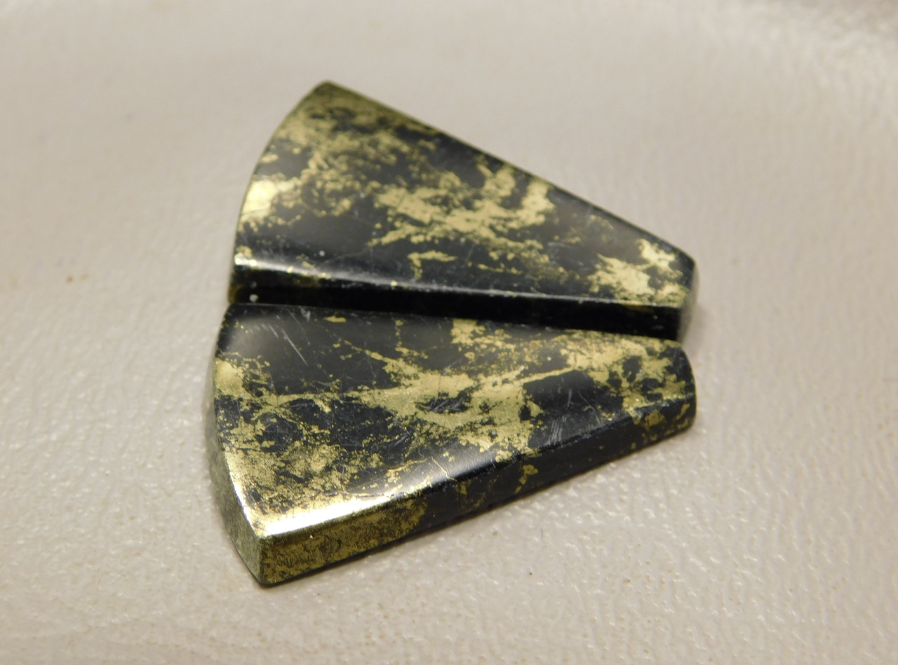 Apache Gold Matched Pair Cabochons Jerome Arizona Gemstone #14