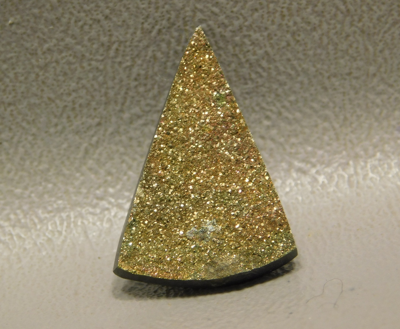 Sparkling Orange Yellow Rainbow Pyrite Stone Cabochon Triangle #17
