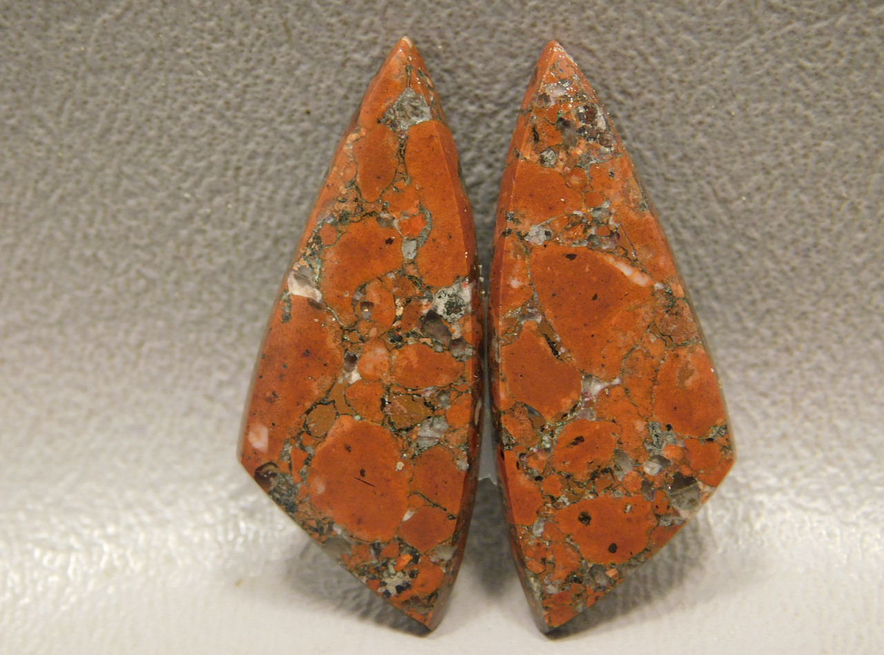 Natural Red Stones Native Copper Rose Matched Pairs Cabochons #13