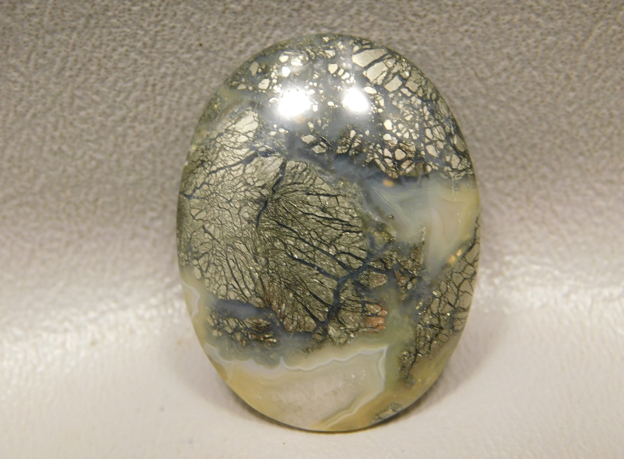 Marcasite Gold Nipomo Plume Agate Cabochon Jewelry Supplies #6