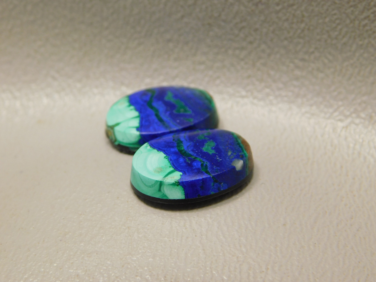 Azurite-Malachite Matched Pairs Earrings Cabochons Blue Green #31
