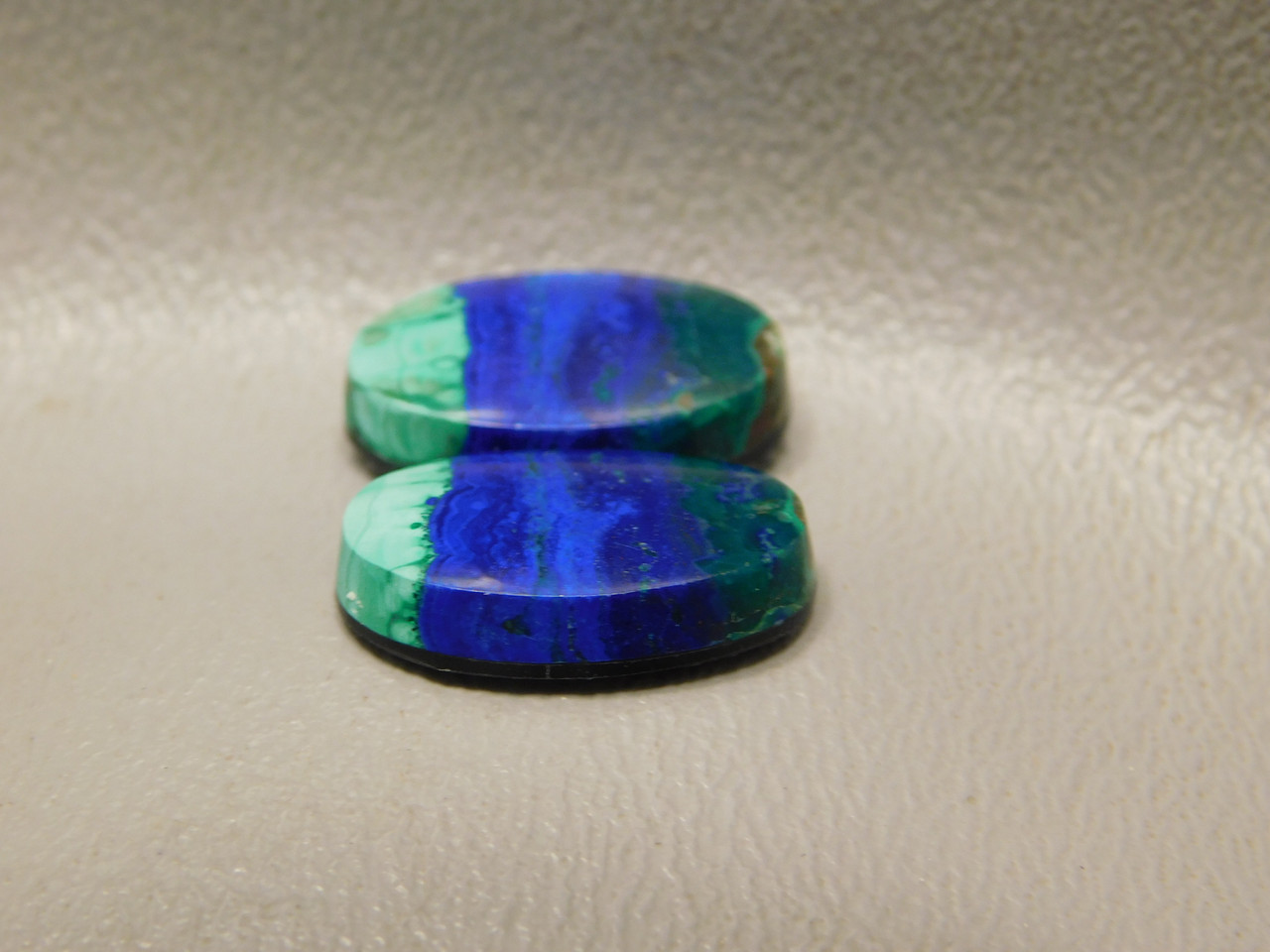 Azurite Malachite Matched Pairs Earrings Cabochons Ovals #34