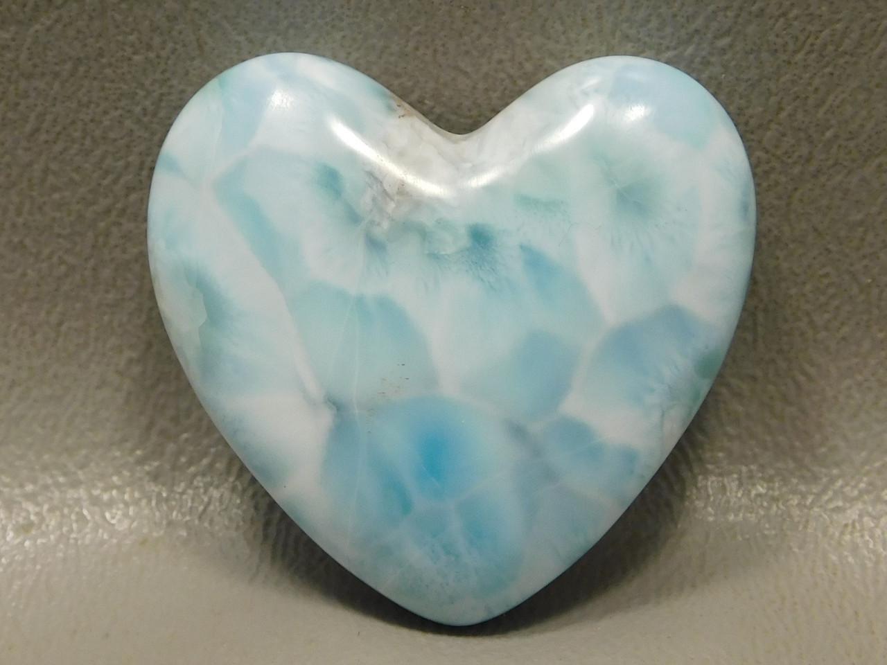 Cabochon Heart Shaped Sea Blue Stone Larimar Jewelry Design #24