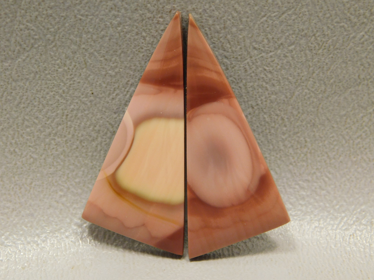 Royal Imperial Jasper Cabochon Stones Matched Pair Pink Triangles #1
