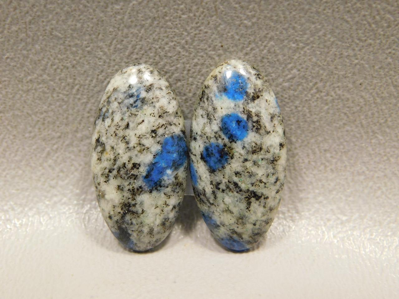 Cabochons K2 Blue Spotted Azurite Jasper Stone Oval Matched Pairs #18
