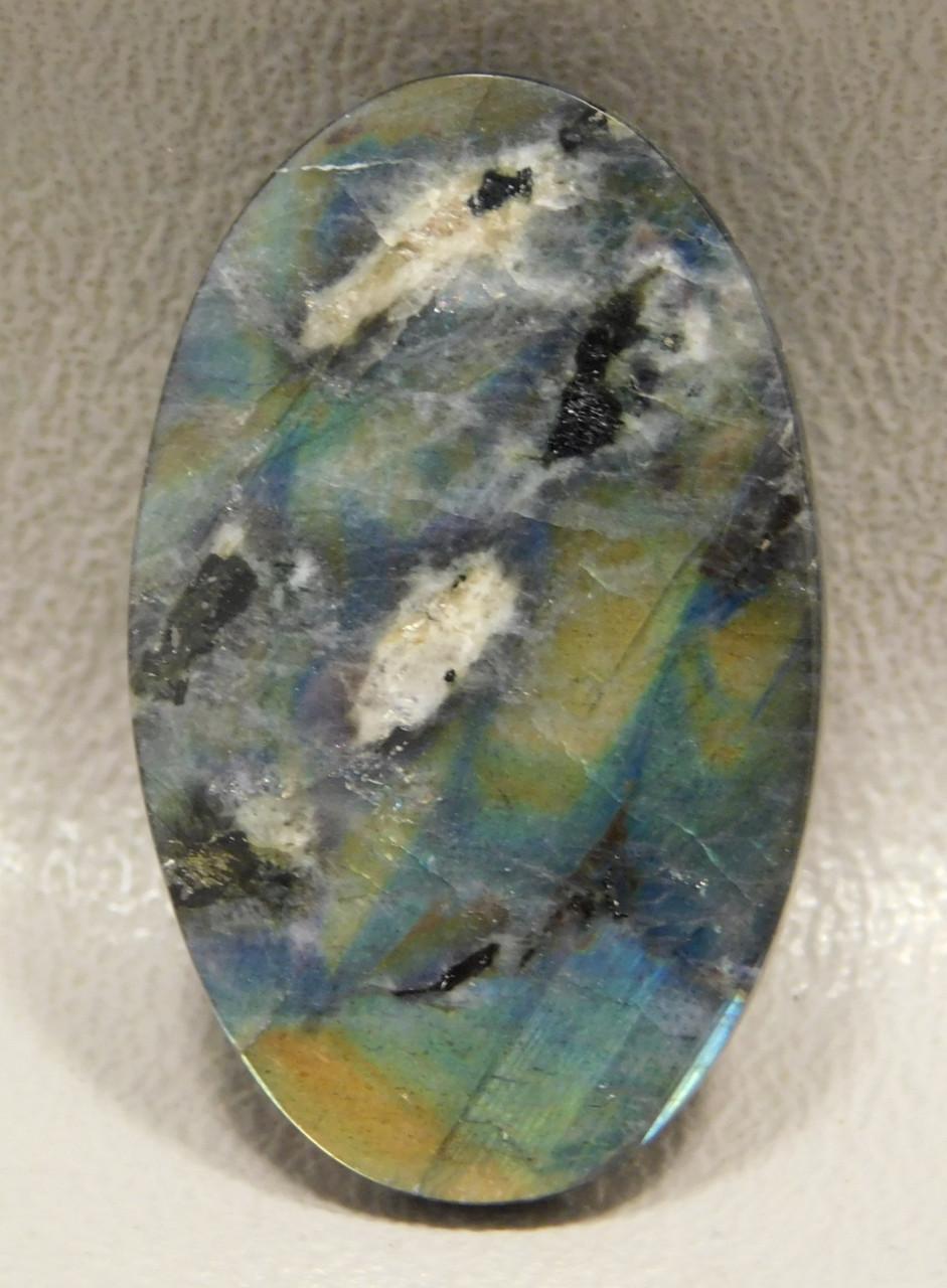 Blue Spectrolite Cabochon Oval Flashy Rainbow Stone #18