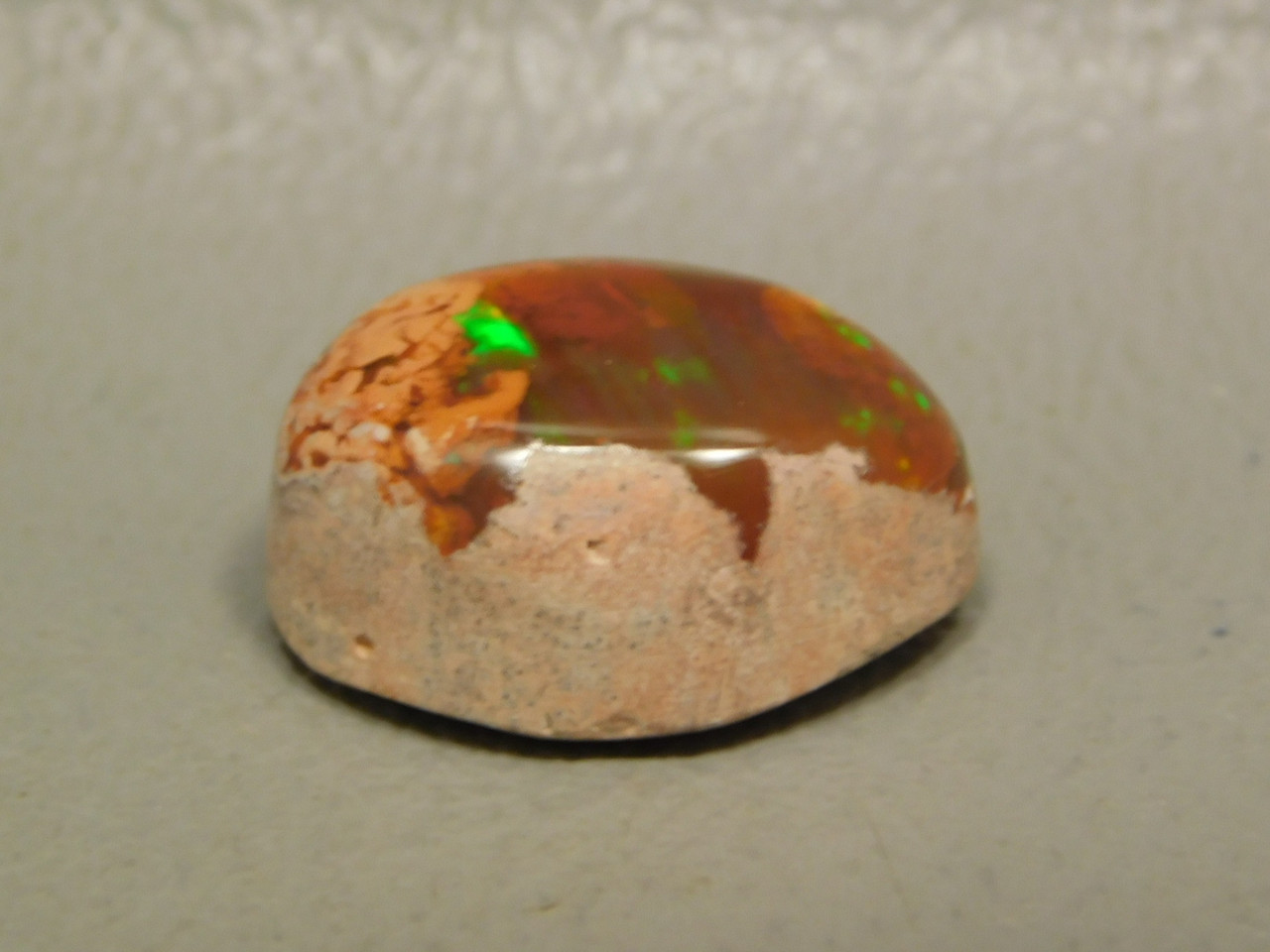 Iridescent Orange Mexican Fire Opal Small Cabochon Ring Stone #8