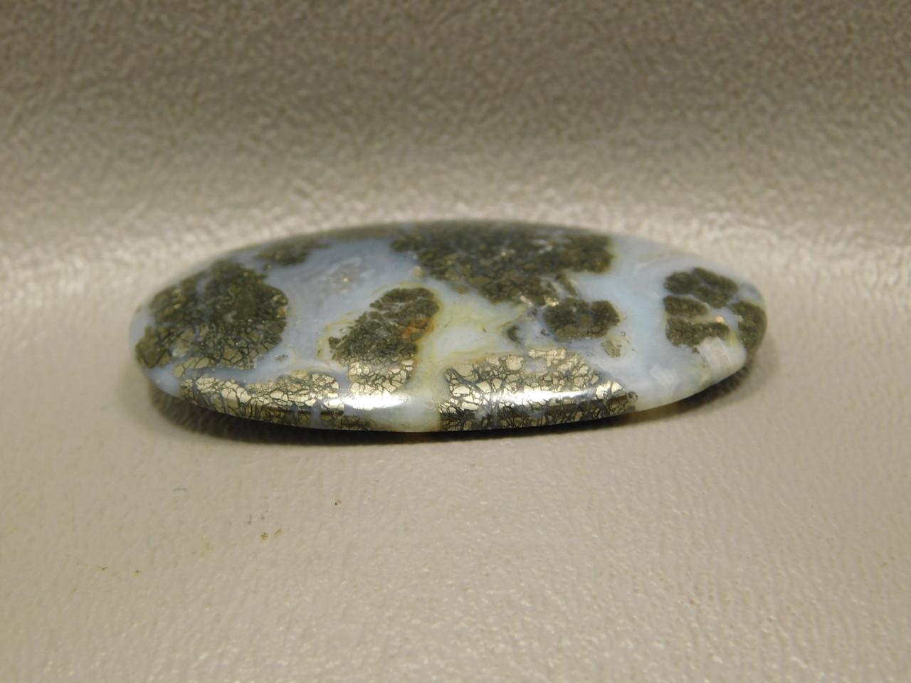 Nipomo Plume Agate Gold Marcasite Pyrite Inclusions Cabochon Stone #7